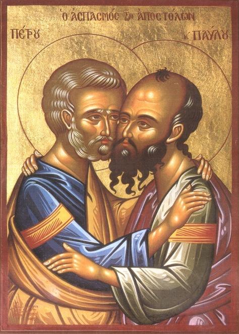 Πέτρος και Παύλος Απόστολοι 04 Ασπασμός (σύγχρονη).jpg